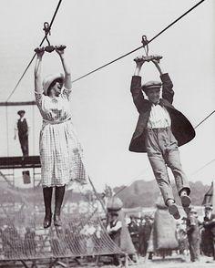 A zipline date, c. 1920s.