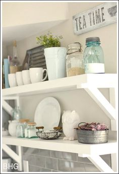 Cottage Kitchens Ideas - Open storage shelves are very trendy now. Brought to You by LG Studio