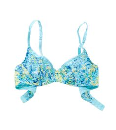 Printed Laced Unlined Bra in Blue Stead