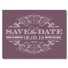 Plum Purple Save the Date | Vintage Swirl and Flourish Postcards #purple #wedding #savethedate