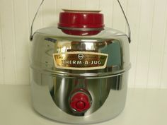 NEVER USED Vintage Chrome Picnic Camping Jug Cooler, Knapp Monarch Therm A Jug, with Original Box, Spigot, Stopper Cup and Handle on Etsy, $78.00