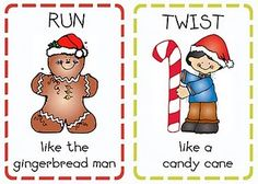 Christmas movement cards - Re-pinned by #PediaStaff.  Visit http://ht.ly/63sNt for all our pediatric therapy pins