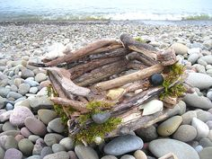 DRIFTWOOD box  BaSKET  natural Home DECOR with sticks and pebbles via Etsy