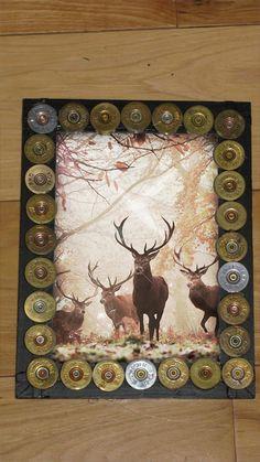 Shotgun shell 5x7 picture frame hunting art on Etsy, $10.00
