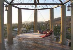 outdoor beds, hanging beds, dream, patio, backyard