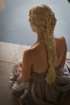 game of thrones khaleesi hair. Braid around the crown and two low dutch braids that are pinned into one larger braid.