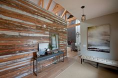 Recycled wood wall