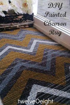 DIY Painted Chevron Rug-twelveOeight  #chevron #rug #how to paint a rug