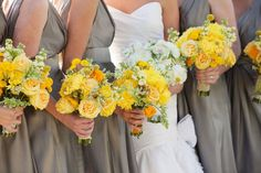 Photos by This Modern Romance yellow flowers, bridesmaids, yellow weddings, color schemes, color combos, bridesmaid dresses, grey weddings, yellow bouquets, bridal parties