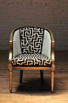 Antique Barrel Chair, Modern Fabric