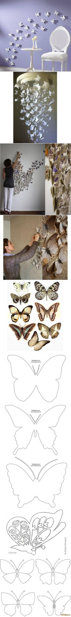 DIY Butterfly Pattern Wall Decor DIY Butterfly Pattern Wall Decor...would love this with paper cranes!!