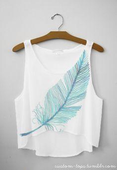 summer shirts, beaches, fall leaves, diy shirt, crop tops, blue, feather tank, at the beach, earring