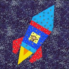 Rocket ship paper pieced block