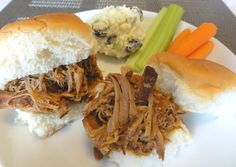 4lbs pork shoulder, King's Hawaiian Bread, maui onions, and spices unite to make this delicious pulled pork sandwich by justJENN -- one of my favorite foodie bloggers. I'm so excited to test this recipe out in my new crockpot :)