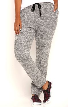 Deb Shops Plus Size Mixed French Terry Jogger Pants with Drawstring $11.00