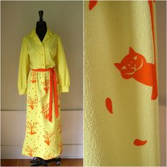 "Cheshire Cat Hostess Dress:  Vintage 1970's Vested Gentress Dress / 70's Maxi Dress / Yellow & Orange ""Cat Lady"" Novelty Print Belted Shirt Dress"