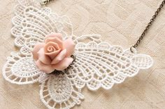 crochet butterfly necklace