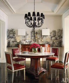 Brooke Shield's dining room - love the wallpaper