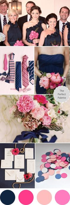 Don't like the blue in top picture (too dark and grey based) but love the other blue and pink color combos!  Wedding Colors I Love | Navy Blue   Shades of Pink!