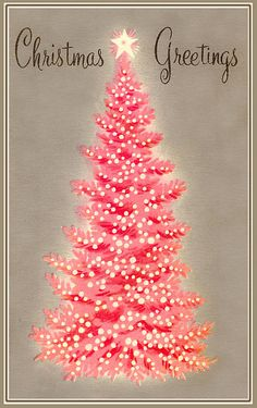 Vintage Christmas card....lovely pink on gray and love the font. christmas cards, vintag christma, vintage christmas, pink christmas, christmas greetings, christmas trees, xmas cards, vintage cards, retro christmas