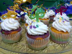 Mardi Gras Cupcakes made for a 60th Birthday Mardi Gras Masquerade Bash