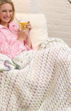 Chain Stripes Throw Free Crochet Pattern from Red Heart Yarns