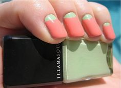 Heck Yes! The ever-so-popular (and fun) reverse-French manicure in spring's hottest shades of pistachio green and coral! Definitely doing this one!