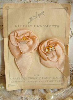 Peachy-Pink Silk Ribbonwork Rosette Lingerie Adornments, 1920s