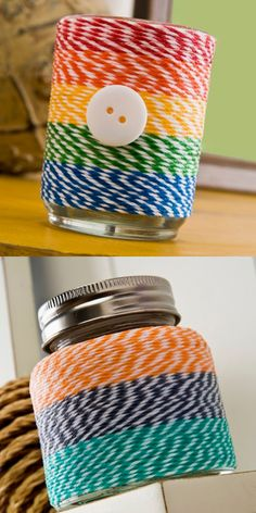 How to decorate votives using baker's twine and Mod Podge!