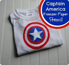Captain America T-Shirt {Freezer Paper Stencil Tutorial}