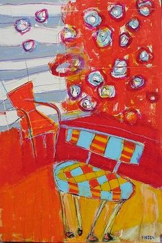 Checkered Chair : Archive of Sold Work : Susan Finsen - Mark Maker Not watercolor