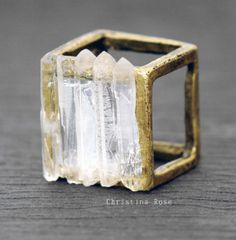 CRYSTAL CAGE Ring  Five Raw White Gemstone by ChristinaRoseJewelry, $65.00