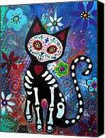 day of the dead cat images | ... Prints - Day of the Dead Cat Canvas Print by Pristine Cartera Turkus