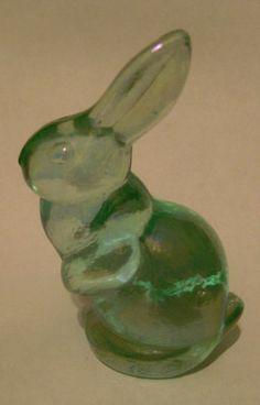 Fenton Art Glass Mini Bunny Rabbit #5275 Sea Mist Green