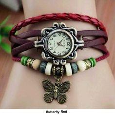 Boho watch. Butterfly.