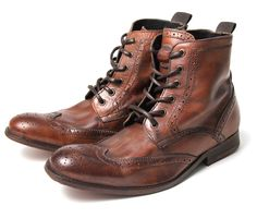 Seriously cannot get enough of men's brogue boots. Men's Angus (Tan) Leather Ankle Boots | H Shoes