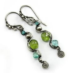 Peridot And Apatite 925 Sterling Silver Earrings, Handmade With Natural Gemstones by DreamingTreesJewelry on Etsy
