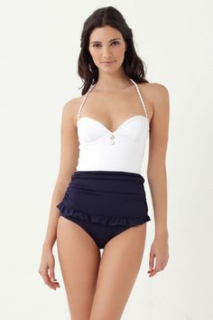 This suit has a  corset-seamed bodice & curve flattering ruched waist, making it the perfect suit for post-baby body.