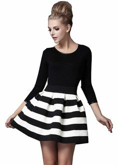 Black White Striped Length Sleeve Stripe Dress (S, Black)