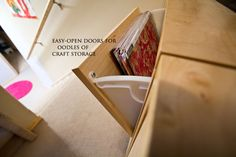 craft storage in shoe storage boxes.  They are bolted to the wall so they don't tip.