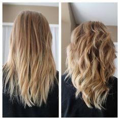 My beachy ombré look    #curl #straight #beachyombre #ombre #beachy #hair #blonde #blond #mediumlength
