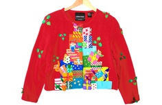 Michael Simon Elves & Pile of Gifts Tacky Ugly Christmas Sweater / Cardigan Women's Size Large (L) $35