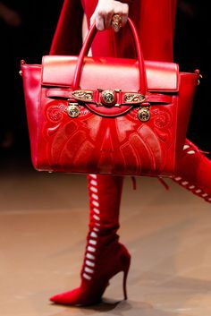 Lady in RED...Versace Fall Winter 2014 red boots and handbag