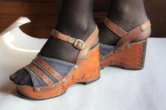 Vintage Wood Platform Shoes - Genuine 1970s platforms - 70s platforms - Cool Design - Size - US Women 6 /// EU 36. $120.00, via Etsy.
