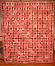 I love nine patches set on point. And I love all the pink and brown together., Quilts