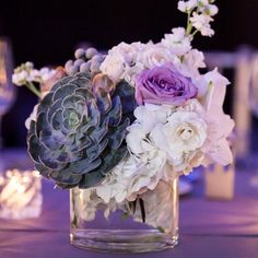 Wintry floral centerpieces // Heather DeCamp Photography // Kehoe Designs // http://www.theknot.com/weddings/album/a-winter-wonderland-wedding-in-chicago-il-133820
