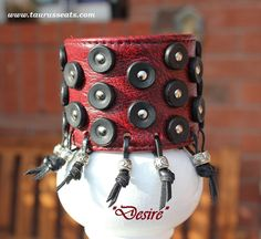 Red Leather Cuff Wristband for Women with Chrome by TaurusSeats, $120.00