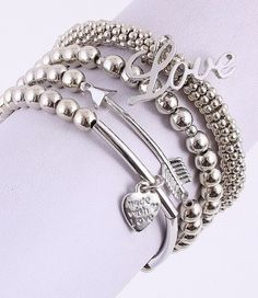 4 piece Arrow Word Love Heart Charm Made with Love Bracelet Set Silver Tone