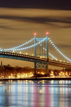 usa, city, new york, bridge, lights, night