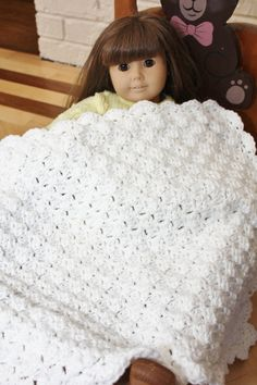 Doll blanket American girls Biddy baby  Afghan by RebeccasAccents, $15.00
